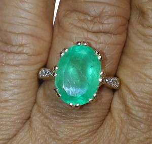 Other SALE*5.32CT COLOMBIAN EMERALD & DIAMOND 10K GOLD RING
