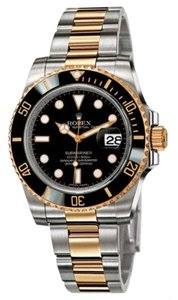 Rolex Rolex Pre Owned Submariner Steel and Yellow Gold Black Dial 40mm