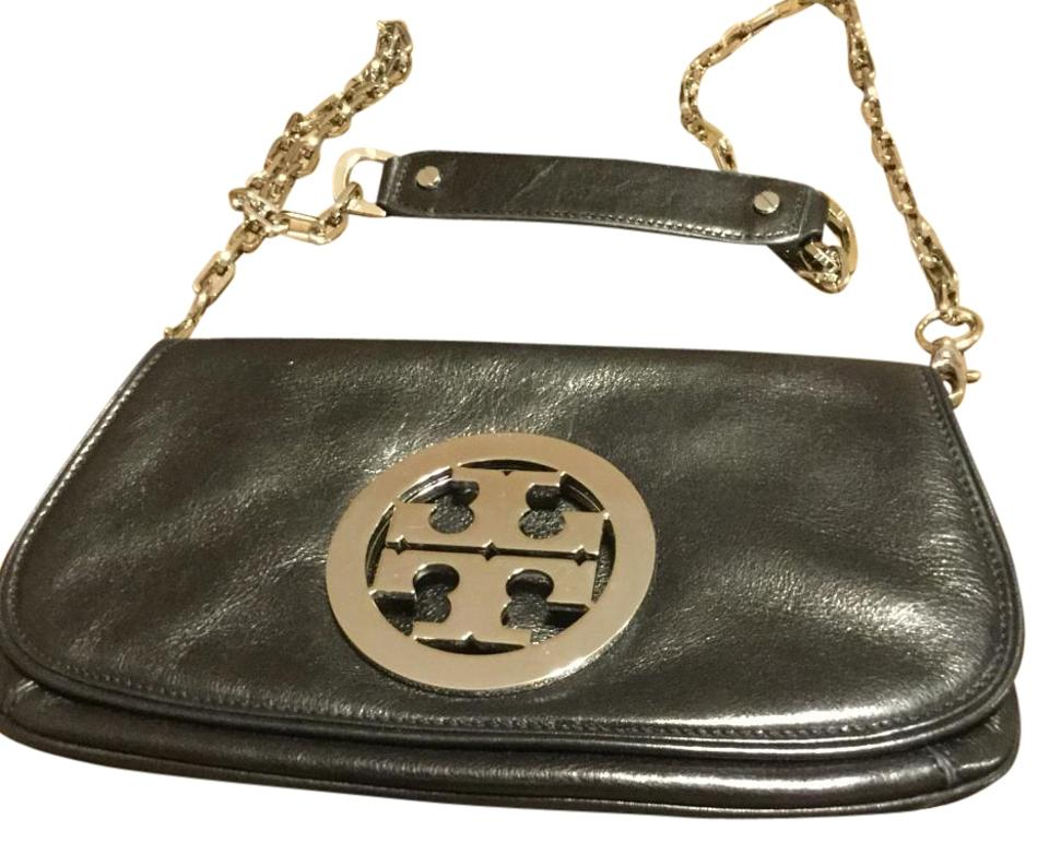 f75a3431413 Tory Burch Reva with Silver Hardware Black Leather Cross Body Bag ...