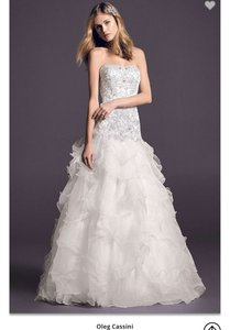 Oleg Cassini Organza Wedding Dress With Lace Wedding Dress