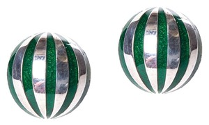 Tiffany & Co. Tiffany & Co. Sterling Silver/Green Enamel Striped Earrings