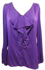 St. John Stretchy V Neck Top Purple