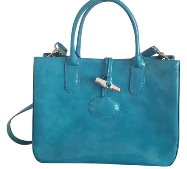 Item - Box Roseau Heritage Small Tote Blue Turquoise Patent Leather Satchel