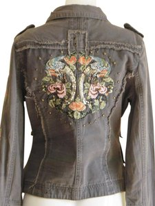 Romeo & Juliet Couture Cotton Embellished Canvas Military Jacket