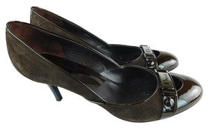 Dior Suede Patent Leather Brown Pumps
