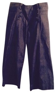 Nanette Lepore Indigo Sailor Style Lacing Crop Wide Leg Pants Blue