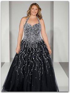 Alfred Angelo Black Chiffon W/ Tulle Ball/Wedding Gown 3205w Formal Wedding Dress Size 28 (Plus 3x)