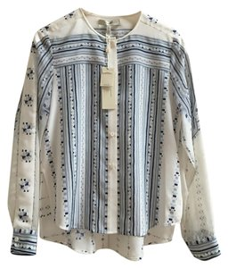 BCBGMAXAZRIA Boho Silk Chic Bcbg Top Blue and Cream