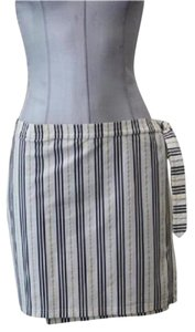 Burberry Wrap Around Style Skirt black, gold, and ivory striped