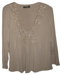 Ideology Sequin T Shirt taupe