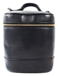 Chanel Chanel Calf Quilted Leather Cosmetic Travel Powder Make-up Tote Bag