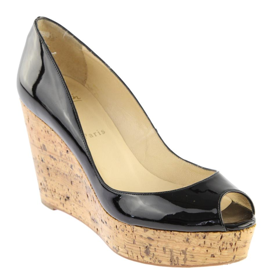 f67369cc50c Christian Louboutin Black Une Plume 100 Peep Toe Cork Wedges Size EU 39  (Approx. US 9) Regular (M, B) 66% off retail