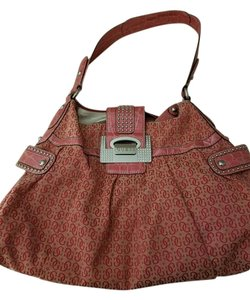 Guess Pink Vintage Monogram Hobo Bag
