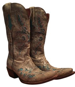 Lucchese Cowboy Tan and Turquoise Boots