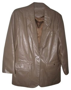 Etienne Aigner Mint Vintage One Button 'blazer' Perfect Year-round Lightweight Lining Hip Length taupe leather Leather Jacket