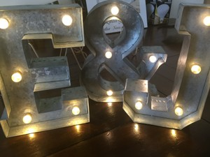 Silver Metal Light Up Marquee Letters - 'e' '&' 'j'