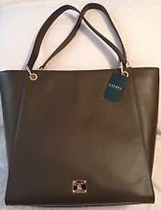 Ralph Lauren Leather Goldtone Color Tote in Olive