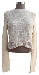 Free People Crew Neck Knit Scalloped Wrap Sweater
