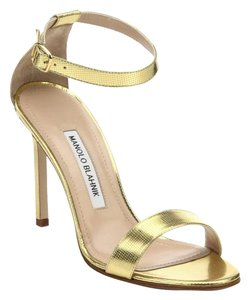 Manolo Blahnik Chaos Store Display Never Worn Stunning GOLD Sandals