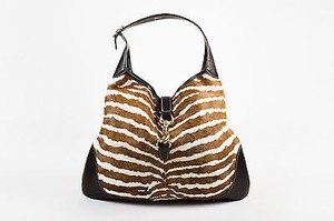 Gucci Cream Zebra Stripe Pony Hair Leather Trim Jackie Hobo Bag