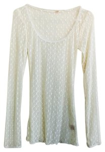 Free People Sheer Lace Long Sleeve Henley T Shirt White