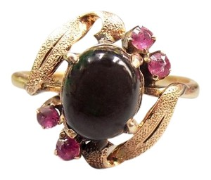 14K 20pt Natural Black Ruby Star Sapphire Ring