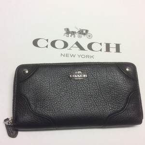 Coach F55404 Coach Mickie Accordion Zip Black Leather Wallet