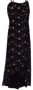 Black with Pink Roses Maxi Dress by Body Central Embroidered Sundress Flowers