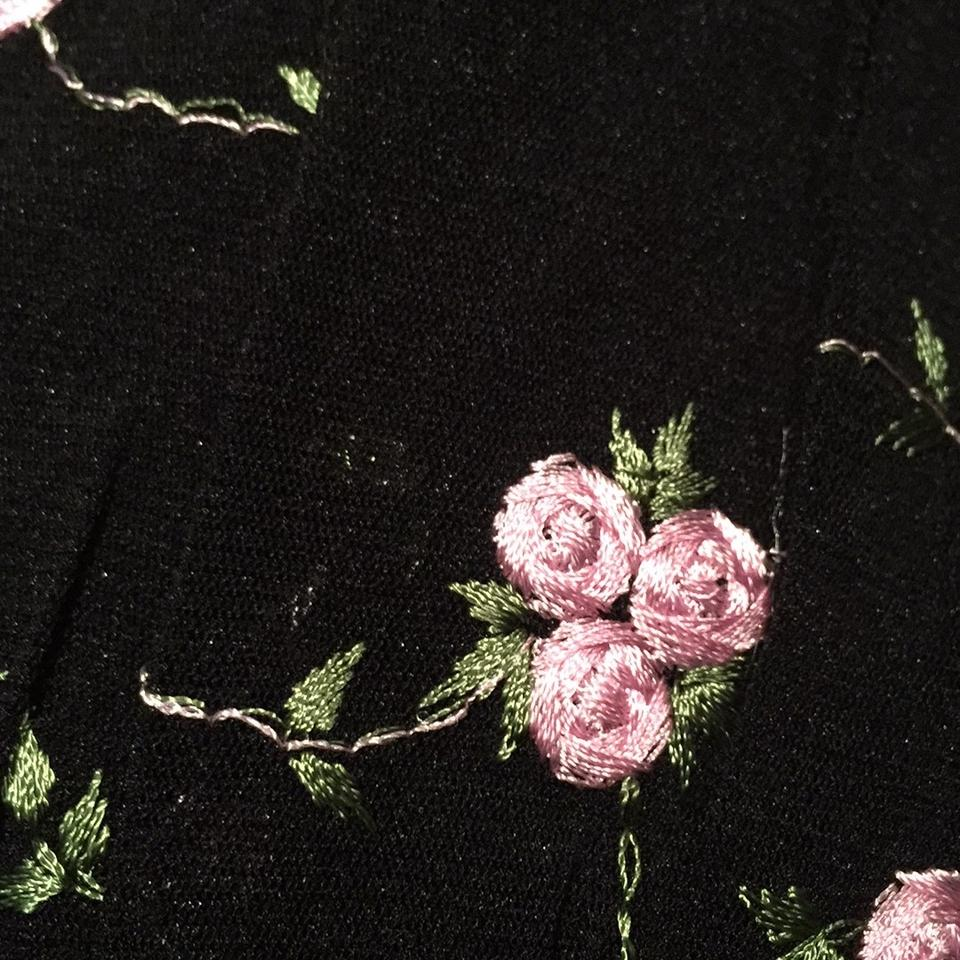 Body Central Black With Pink Roses New Embroidered High Low Casual