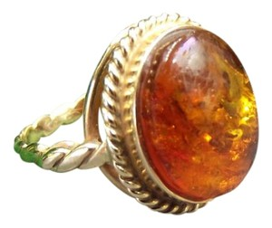 Modern Vintage Baltic Amber 14K Solid Yellow Gold Ring