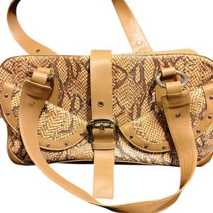 Charlie Lapson Charles Snakeskin Tan Satchel in Neutral
