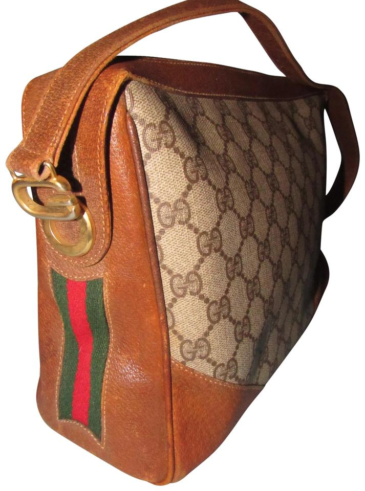 cute get new new products Gucci Sale /Designer Purses Large G Logo Print Coated Canvas/Brown  Leather/Red and Green Striped Sides Hobo Bag