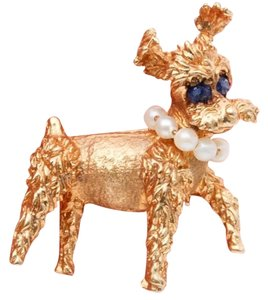 Other 14k Sapphire Pearl Schnauzer Dog Brooch Pin