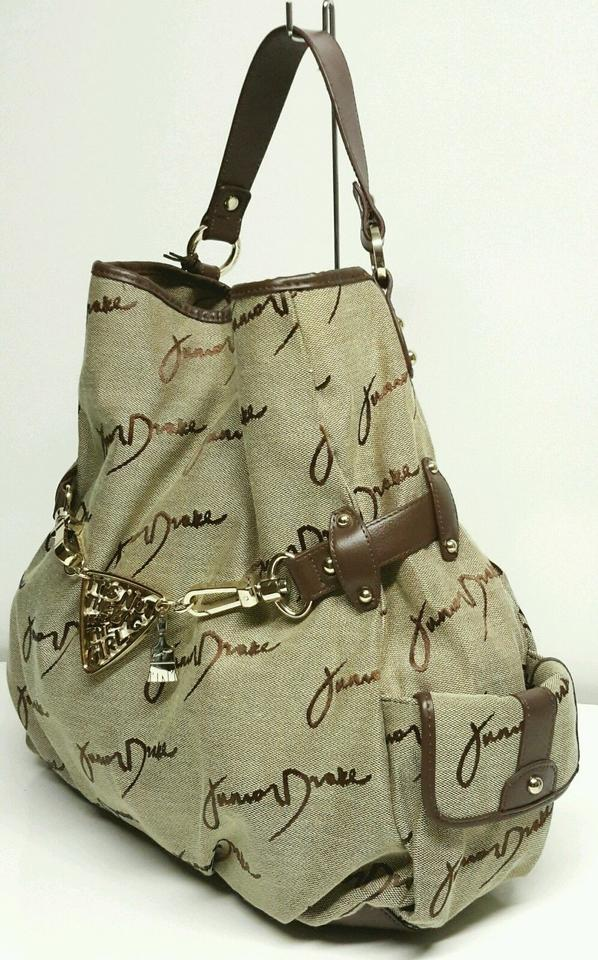 Junior Drake Large Satchel Per Tote Purse Brown Leather Fabric Hobo Bag