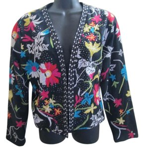Chico's Floral Embroidered Career Multicolored Blazer