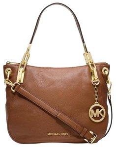 Michael Kors Leather Top Zip Closure Goldtone Satchel in Dk Dune