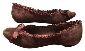 BC Footwear Brown Suede with Sweet Satin Bow & Ruffle Trim Flats