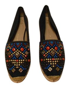 Giuseppe Zanotti Swarovski Accents Beaded Embroidered Design Made In Spain Navy Flats
