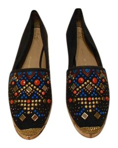 Giuseppe Zanotti Swarovski Accents Beaded Embroidered Design Navy Flats