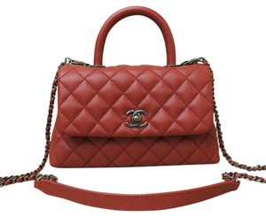 Chanel Brand New Caviar Handle Satchel in red