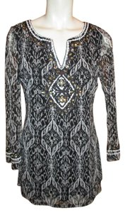INC International Concepts Embroidered Rhinestones Longsleeve Tunic
