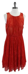 Tibi short dress Red Orange Floral Lace on Tradesy