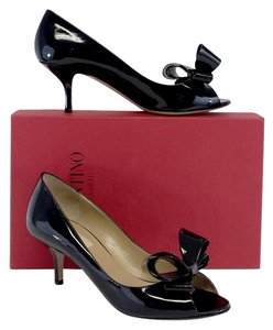 Valentino Black Patent Leather Open Toe Bow Pumps