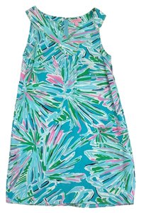 Lilly Pulitzer short dress Blue Pink Green Print on Tradesy