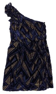 Yumi Kim short dress Navy & Gold Velvet One on Tradesy