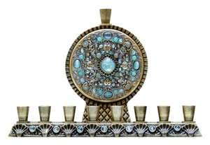 Michal Golan Michal Golan Brass Electroplated Pacific Opal Blue Crystls Menorah