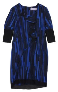 Vera Wang short dress Blue Black Abstract Print on Tradesy
