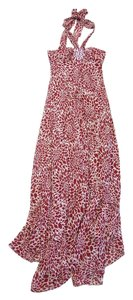 Maxi Dress by BCBGMAXAZRIA Red & Tan Print Halter Silk