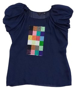 Ted Baker Navy Sequenced Short Sleeve Top
