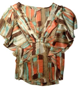 BCBGeneration P2212 Bcbg Size 0 X-small Top orange, brown,, green